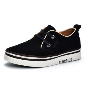 Classic Elevator Low Top Skate Shoes for Men Increase Height 2 inch / 5 cm Black Suede Comfortable Trainers