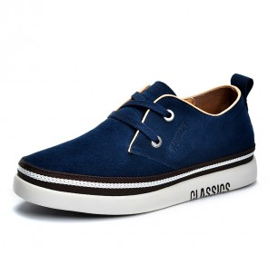 Classic Elevator Low Top Trainers for Men Increase Taller 2 inch / 5 cm Blue Suede Walking Skate Shoes
