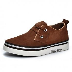 Brown Elevator Low Top Skate Sneakers for Men Add Taller 2 inch / 5 cm Suede Walking Shoes
