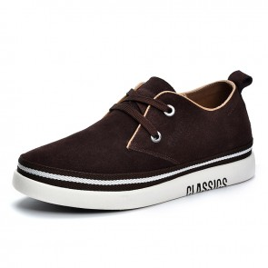 Coffee Elevator Men Low Top Skate Trainers  Add Height 2 inch / 5 cm Suede Classic Walking Casual Shoes