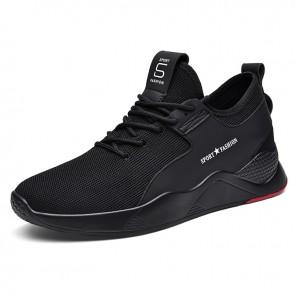Flexible Lightweight Elevator Fashion Sneakersfor Men Boost 2.8inch / 7cm Black Flyknit Slip On Walking Shoes