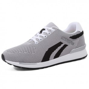 Everyday Hidden Lift Fashion Trainers Add Height 2.8 inch / 7 cm Gray Flyweave Walking Running Shoes