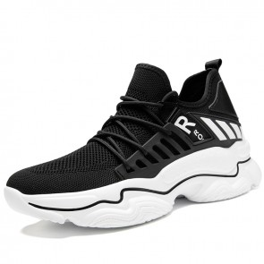 Height Increasing Lifestyle Sneaker Black Flyknit Chunky Shoes Make Look Taller 3 inch / 7.5 cm - MEN_02639_01