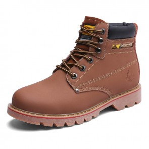 Unisex Height Increasing Chukka Boot Add Taller 3.2inch / 8cm Brown Leather Spacious Toe Work Boots