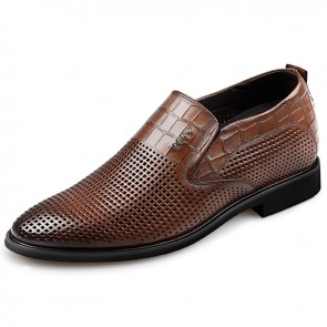 Brown Elevator Formal Loafers for men increase 2.6inch slip on business shoes