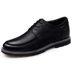 Superior Elevator Casual Oxford for Men Increase 2.6inch / 6.5cm Black Nubuck Business Shoes