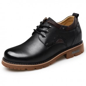 Elevator Working Shoes for Men Height 2.8inch / 7cm Black Calfskin Spacious Business Shoes