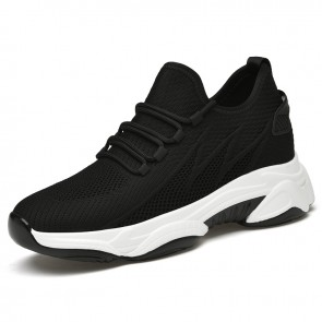 Black Height Increasing Fashion Sneakers for Men Add Taller 2.8 inch / 7 cm Flyknit Non Slip Running Shoes
