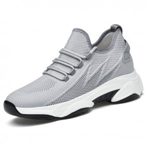 Men Height Elevator Fashion Sneakers Increase 2.8 inch / 7 cm Gray Flyknit Non Slip Running Shoes