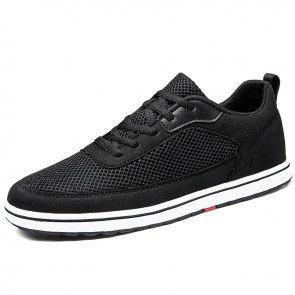 Comfort Elevator Trainers for Men Increase 2.8 inch / 7 cm Black Mesh Lace Up Lift Casual Sports Shoes
