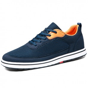 Breathable Height Increasing Trainers Add 2.8 inch / 7 cm Blue Mesh Lace Up Lift Casual Sports Shoes