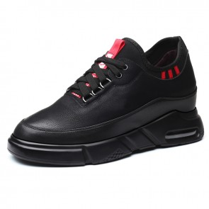 Black 4inch Taller Sneakers Non-Slip Casual Sports Shoes Increase Height 10cm