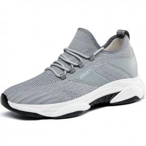 Men Simple Everyday Sneakers Add Height 2.8 inch / 7 cm Gray Hidden Heel Lift Workout Walking Shoes