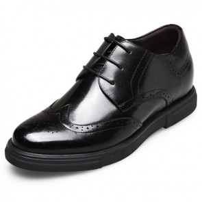 British luxury height increasing brogue shoes 2.6inch / 6.5cm Black