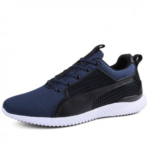 Blue Elevator Mesh Sneakers for Men Add Taller 3 inch / 7.5 cm Lace Up Lightweight Trail Running Shoes