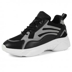 Best Black Casual Chunky Sneaker That Make You Look Taller 3.2 inch / 8 cm
