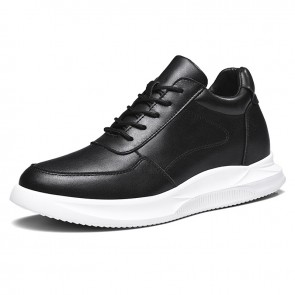 Black Leather Hidden Taller Skate Shoes Trendy Elevator Men Sneakers Increase 2.8inch / 7cm