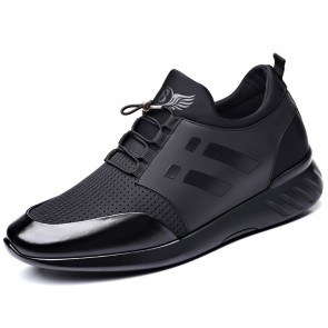 Men's Lifestyle Sneakers Increase Height 2.4 inch / 6 cm Black Breathable Flyknit Elevator Walking Shoes