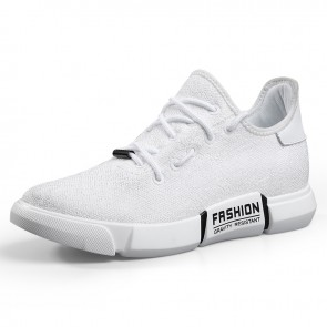Men elevator street sport shoes increase height 2.7inch /  7cm white knitted mesh sneakers