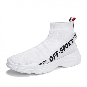 White Men Height Increasing Socks Shoes Add Altitude 3.2inch / 8cm Breathable Slip On Walking Shoes