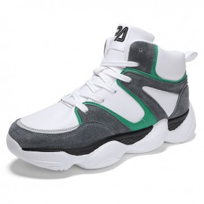White-Grey Men Height Increasing Basketball Shoes Get Taller 3.2inch / 8cm