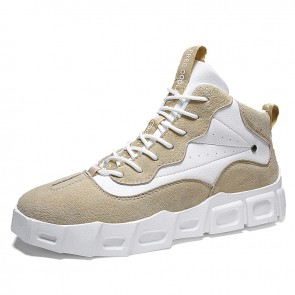 Khaki High Top Skateboarding Shoes Make You Height Korean Trendy Elevator Sneakers 2.8inch / 7cm
