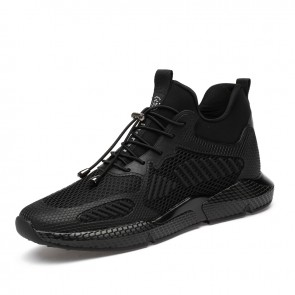 Black Hidden Heel Sneakers Increase Taller 3.2inch / 8cm Non-Slip Elevator Walking Shoes