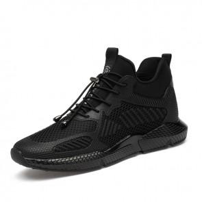Black Hidden Heel Sneakers Increase Taller 3.2inch / 8cm Non-Slip Elevator Walking Shoes