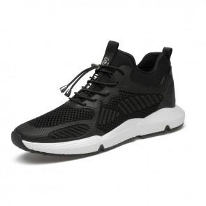 Hidden Height Sneakers for Men Taller 3.2inch / 8cm Black-White Non-Slip Elevator Walking Shoes