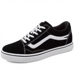 Hidden Taller Plimsolls for Men Increase 2.8 inch / 7 cm Black Canvas Secret Skateboarding Shoes