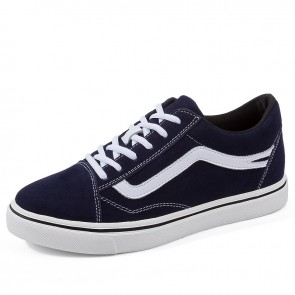 Blue Hidden Heel Lift Plimsolls Add Taller 2.8 inch / 7 cm Canvas Secret Skateboarding Shoes