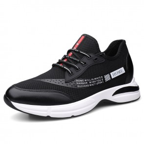 Black Concise Height Increasing Sneakers That Give You Taller 3inch / 7.5cm Slip On Mesh Running Shoes