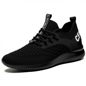 Comfortable Elevator Wokout Shoes Black Soft Flyknit Sneakers Make You Look Taller 2.8 inch / 7 cm