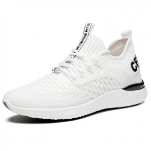 Comfortable Hidden Lift Wokout Shoes White Soft Flyknit Sneakers Increase Height 2.8 inch / 7 cm