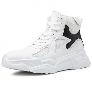 Trendy High Top Height Increasing Sneakers for Men Add Taller 3.2inch / 8cm Korean Elevator Skate Shoes