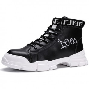 Elevator High Top Skateboarding Shoes for Men Get Taller 2.8inch / 7cm Black Street Fashion Sneakers