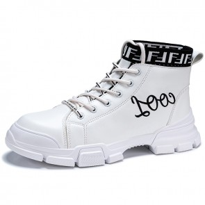 Elevator High Top Men Skateboarding Shoes Add Height 2.8inch / 7cm White Street Fashion Sneakers