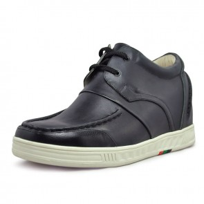 Black casual elevator shoe for men 7cm / 2.75inch taller shoes