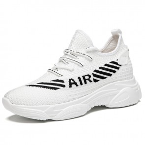 Hidden Height Chunky Sole Sneakers White Mesh Elevator Dad Shoes Increase 3 inch / 7.5 cm