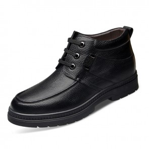 Warm woolen tall cotton boot 6.5cm / 2.56inch black height increasing casual shoes