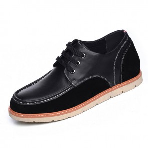 Spring lace up elevator shoes heeled 6cm / 2.36inch taller black casual shoes