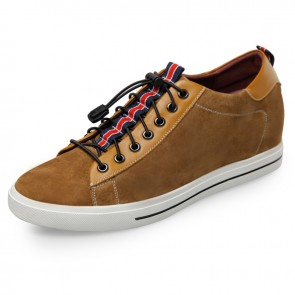 Trendy elevator skateboarding shoes 2.4inch / 6cm yellow suede taller sneakers