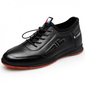 Cowhide Height Increasing Walking Shoes for Men Tall 2.4inch / 6cm Slip On Casual Sport Shoes