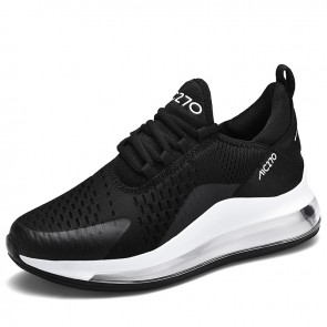 Black-White Elevated Air Cushion Fashion Sneakers for Men Height 2.8inch / 7cm Breathable Flyknit Tennis Shoes