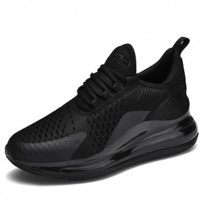Black Elevator Air Cushion Sneakers for Men Increase 2.8inch / 7cm Fashion Casual Flyknit Tennis Shoes