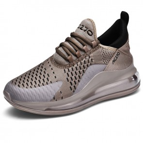 Khaki Elevator Air Cushion Fashion Sneakers Gain Taller 2.8inch / 7cm Breathable Flyknit Tennis Shoes