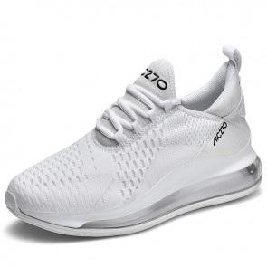White Elevated Air Cushion Sneakers Add Taller 2.8inch / 7cm Fashion Casual Flyknit Tennis Shoes