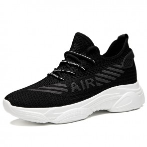 Height Increasing Chunky Sole Sneakers Black Mesh Elevator Dad Shoes Taller 3 inch / 7.5 cm