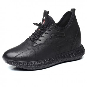 4 inch Elevator Sneakers Genuine Leather Height Increasing Walking Shoes for Men Get Taller 10 cm