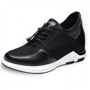 Black Hidden Heel Lift Sneakers Make You Look Taller 4Inch / 10cm Slip On Elevator Casual Shoes